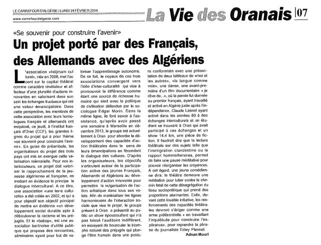 Article par Adnan Mouri paru dans Le Carrefour d'Algérie le 24 février 2014