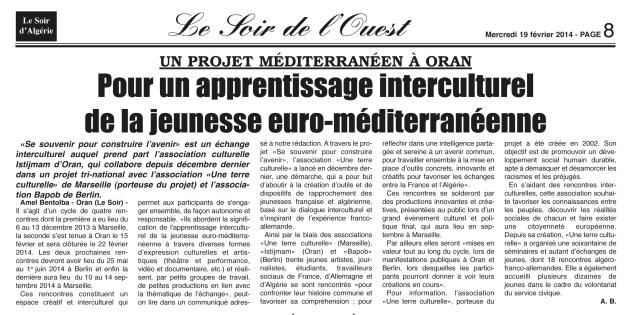 Article par Amel Bentolba, paru dans Le Soir d'Algérie le 19 février 2014